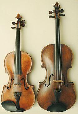 Различие в размерах между скрипкой (слева) и альтом (справа)