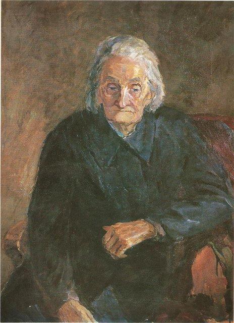 Пятрас Стаускас. Писательница Лаздину Пеледа Сова Лаздинай. 1957 г.