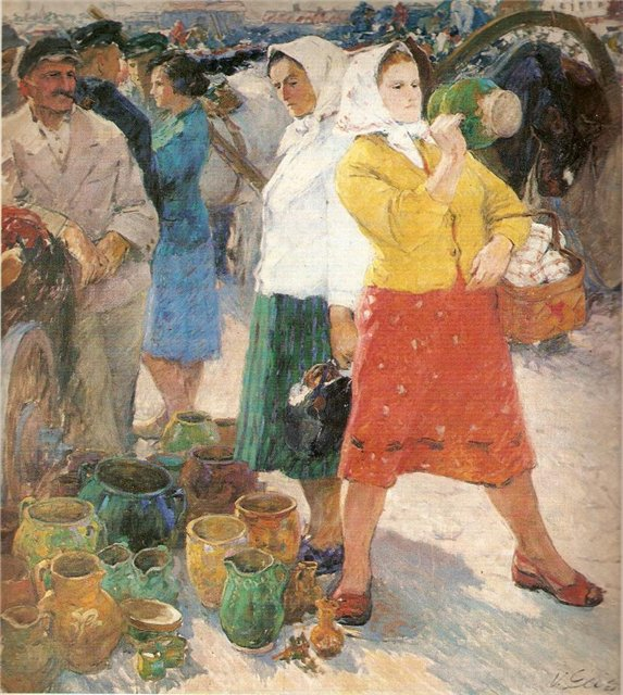 Винцас Гячас. На колхозном рынке. 1959 г.