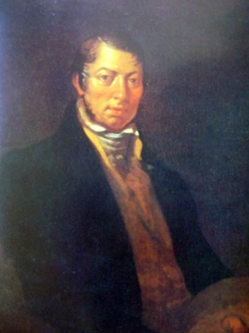 Йонас Рустемас. Автопортрет с палитрой.