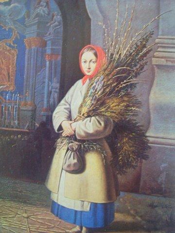 Канутас Русяцкас. Литовочка с вербами. 1847