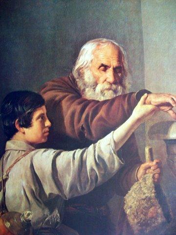 """Тадас Горрецкис. """"Слепой нищий с мальчиком"""". 1843 г."""