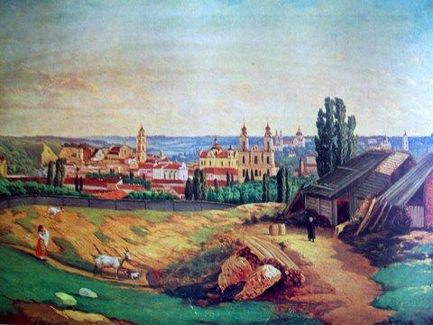"Юозас Маршевскис. ""Вильнюс с горы Таурас"". 1872 г."