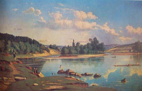 """Юозас Маршевскис. Нерис у парка """"Вингис"""". 1872 г."""