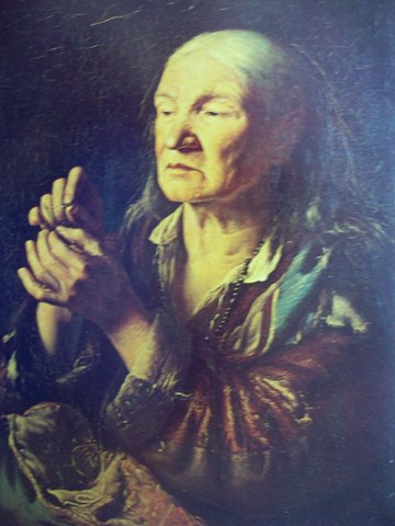 """Винцас Слендзинскис. """"Старушка продевающая нить в иглу"""". 1855"""