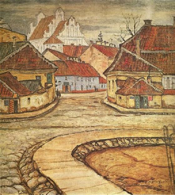 Мстислав Добужинский. Вильнюс. Улица Тилто мостовая. 1907 г.