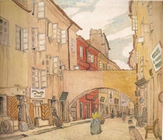 Мстислав Добужинский. Вильнюс. Улица Месининку мясников. 1906-1907 гг.