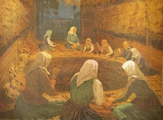 Антанас Жмуйдзинавичюс. Страда толока молотьбы льна. 1926 г.