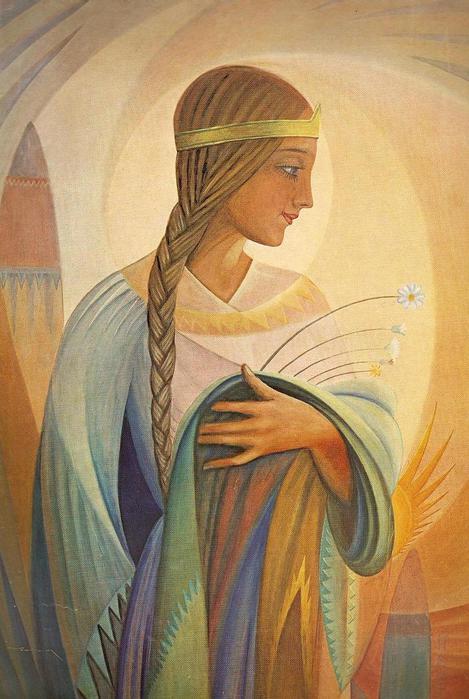 Казис Шимонис. Девушка с цветами. 1936 г.