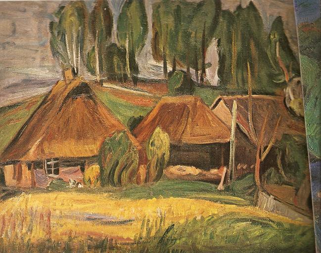 Викторас Визгирда. Селение на фоне деревьев. 1930 г.