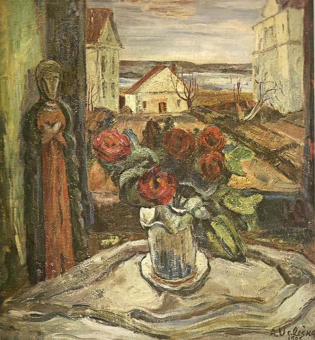 Адольфас Валяшка. Натюрморт на фоне пейзажа. 1938 г.