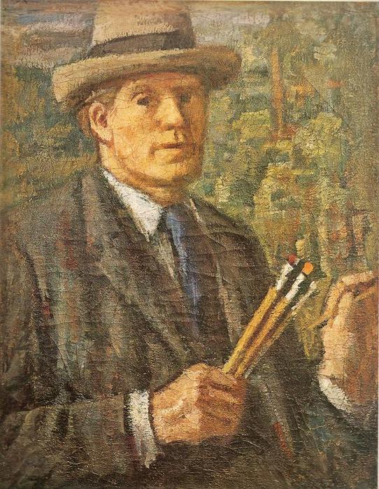 Владас Ейдукявичюс. Автопортрет с кистями. 1935 г.