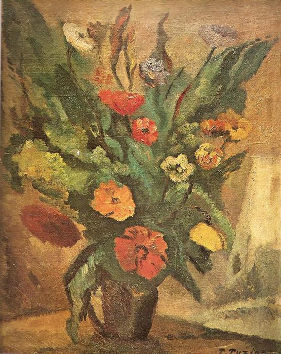 Повилас Пузинас. Натюрморт Цветы. 1939 г.