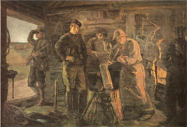 Пётр Сергиевич. В партизанской кузне. 1944 г.