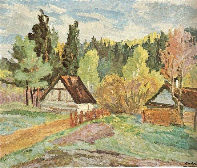 Антанас Гудайтис. Усадьба у леса. 1957 г.