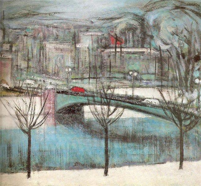 Мария Цвиркене. Мост с красным автобусом. 1968 г.