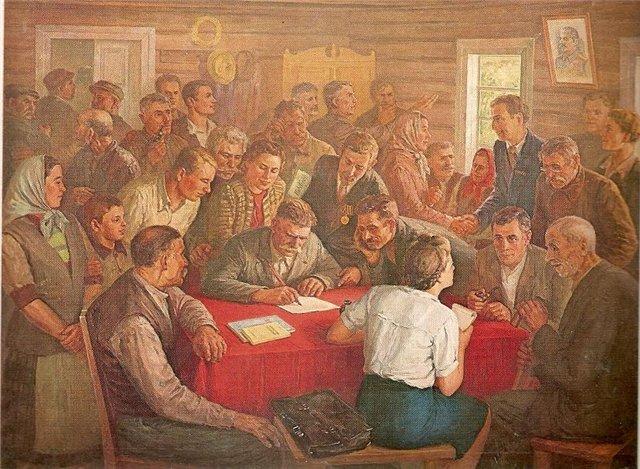 Винцас Дилка. Учредительное собрание колхоза. 1950 г.