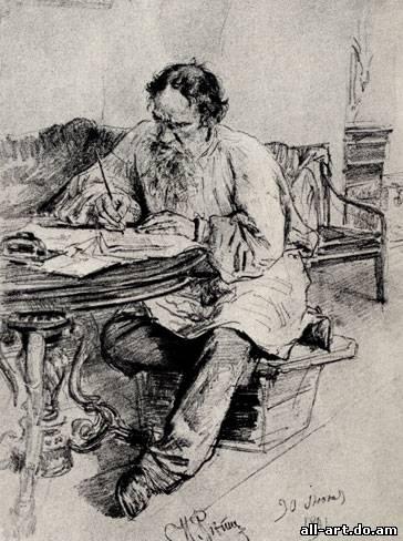 7. И. Репин. Л. Н. Толстой за работой. 1891. Карандаш