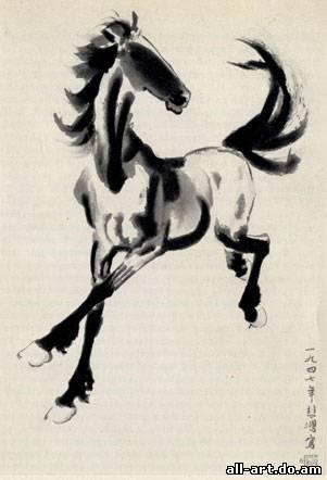 9. Сюй Бэй-хун. Быстро скачущая лошадь. 1930-е годы. Тушь